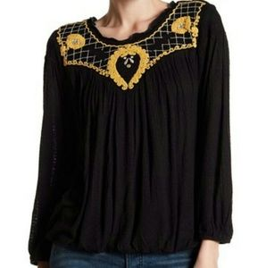 Free People Begonia Embroidered Top